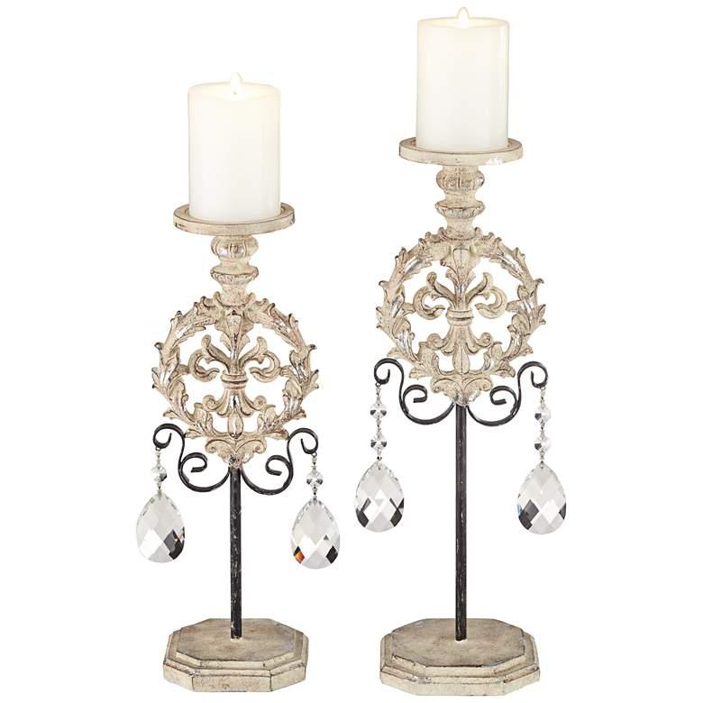 Piccoli White Wash Pillar Candle Holders Set of 2