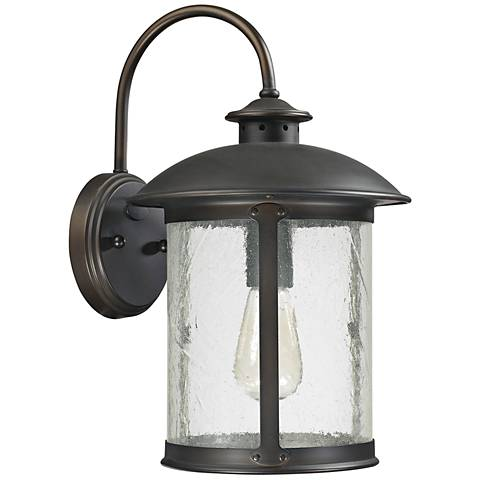 "Capital Dylan Glass 15 1/4""H Bronze Outdoor Wall Light"