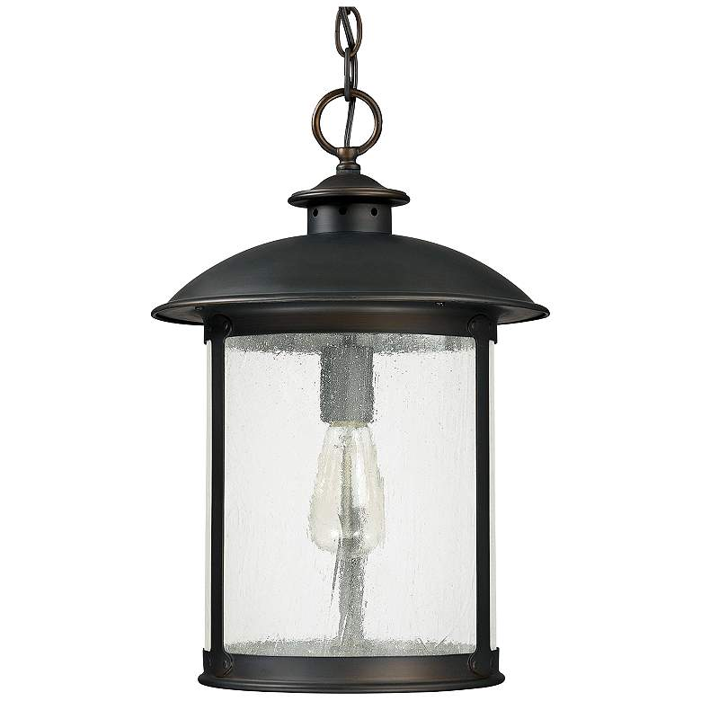 "Capital Dylan Glass 18""H Bronze Outdoor Hanging Light"