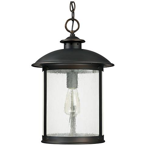 "Capital Dylan Glass 18""H Bronze Outdoor Hanging Light"