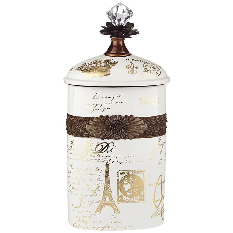 "French Script 13 1/4"" High Decorative White Ceramic Bottle"