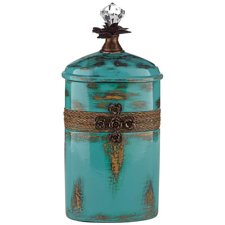 "Pelini Teal Blue 13 1/4"" High Decorative Bottle"