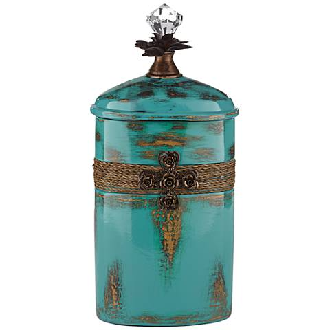 "Pelini Teal Blue 13 1/4"" High Decorative Bottle"