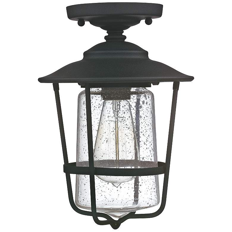 "Creekside 8 1/4""W Black Clear Glass Outdoor Ceiling Light"