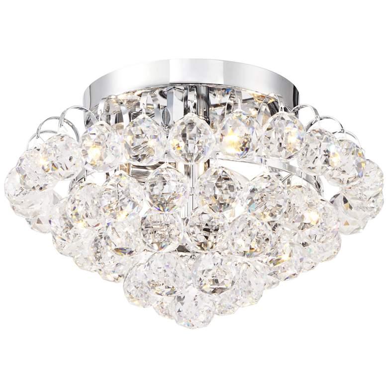 "Velour Chrome 12"" Wide Clear Crystal Ceiling Light"