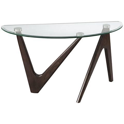 Garvin Pie Nutmeg Base Glass Modern Demilune Sofa Table