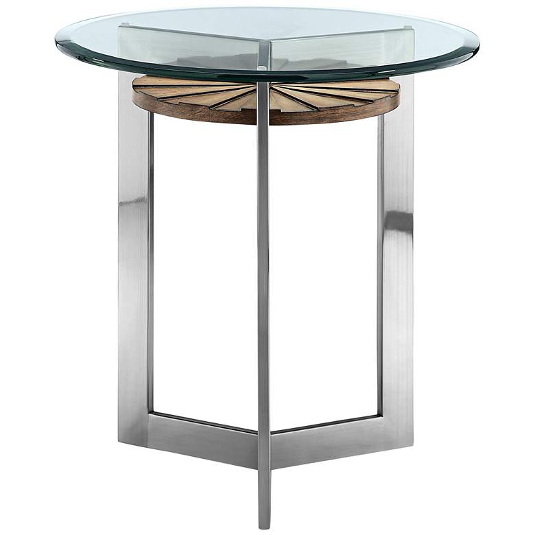 "Rialto 22"" Wide Glass Top Modern Round End Table"