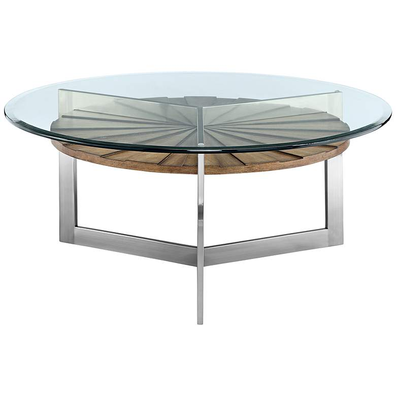 "Rialto 38"" Wide Glass Top Modern Round Cocktail Table"