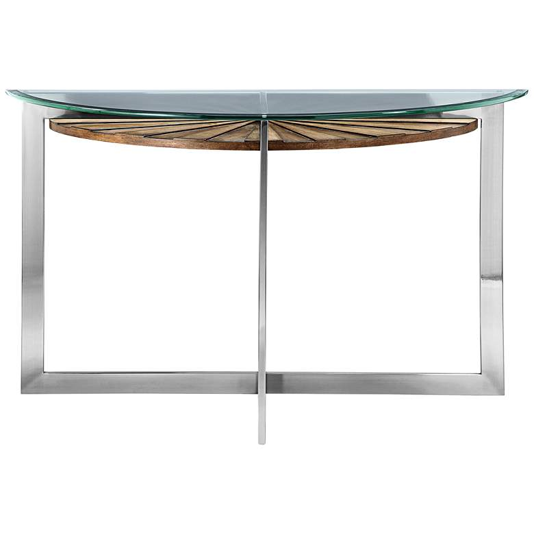 Outstanding Rialto 46 Wide Glass Top Modern Demilune Sofa Table Theyellowbook Wood Chair Design Ideas Theyellowbookinfo