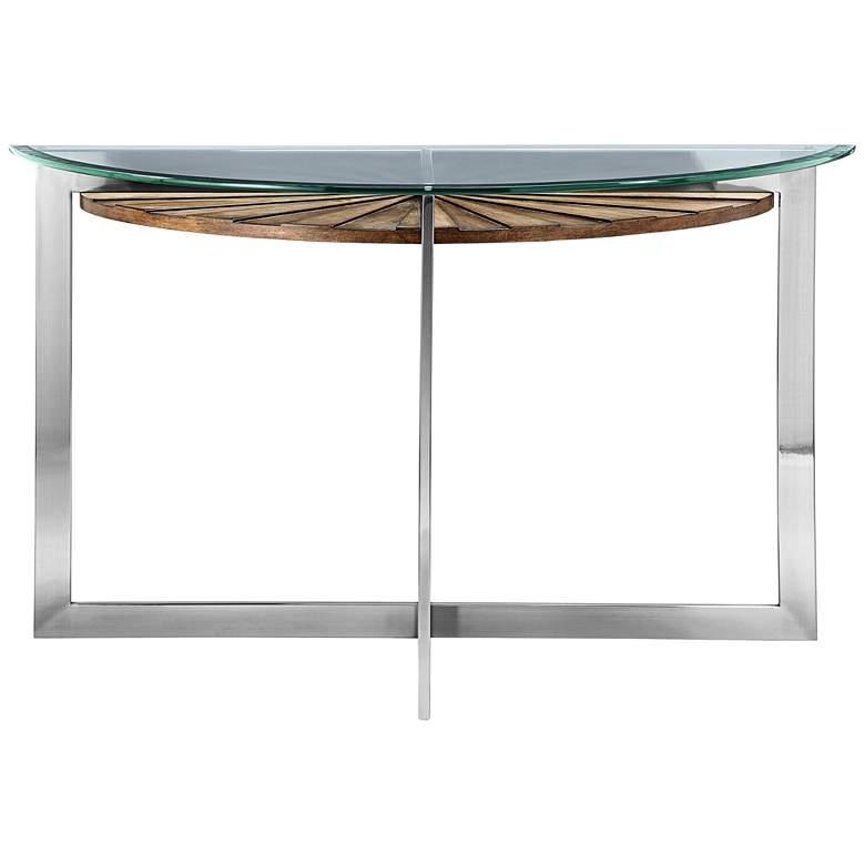 """Rialto 46"""" Wide Glass-Top Modern Demilune Sofa Table"""