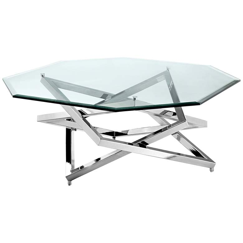 """Lenox Square 40"""" Wide Octagonal Glass Modern Cocktail Table"""