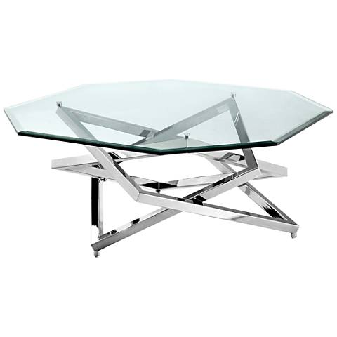 Lenox Square Chrome Glass-Top Octagonal Cocktail Table