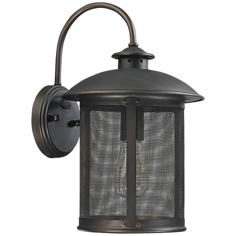 "Capital Dylan Mesh 15 1/4"" High Bronze Outdoor Wall Light"