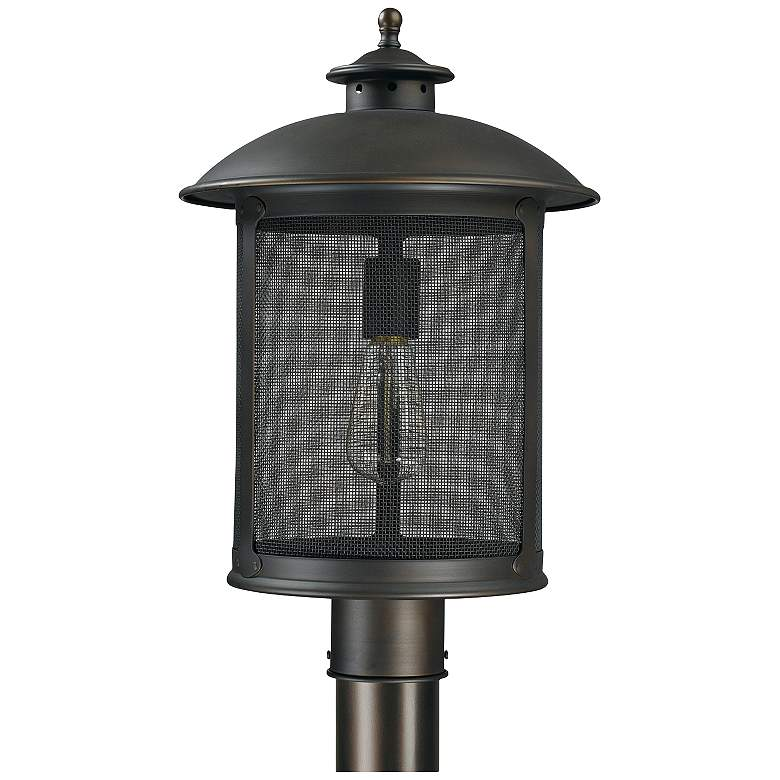 """Capital Dylan Mesh 17"""" High Old Bronze Post or Hanging Light"""