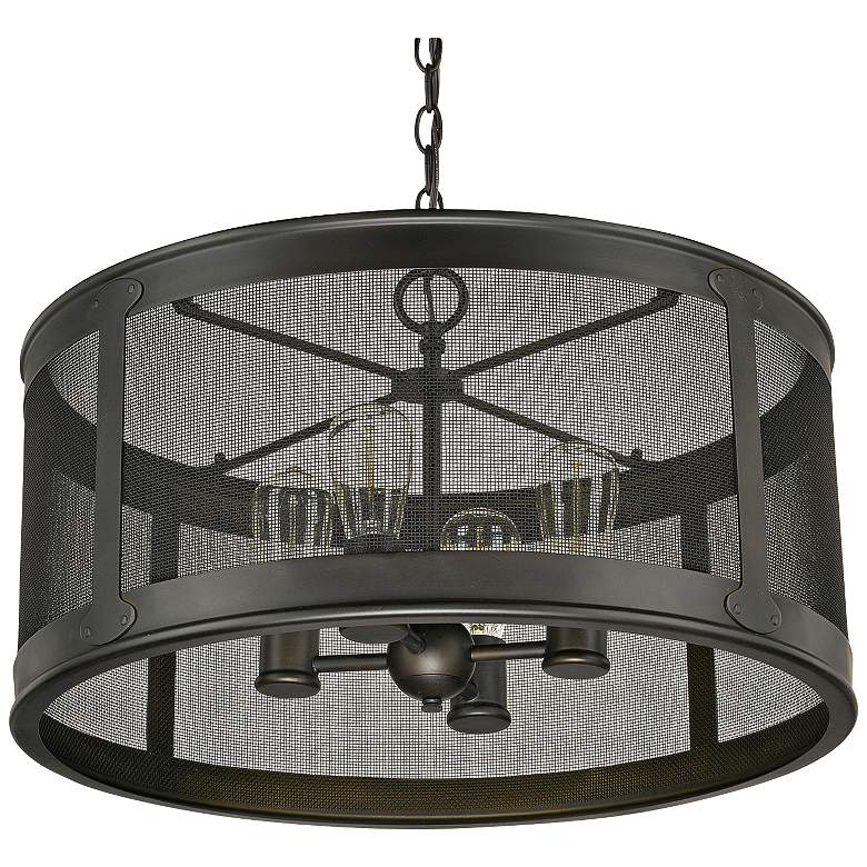 "Capital Dylan Mesh 12 3/4""H Drum Outdoor Hanging Light"