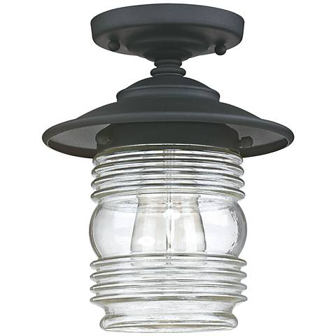 "Creekside 8 1/4""W Black Ribbed Glass Outdoor Ceiling Light"