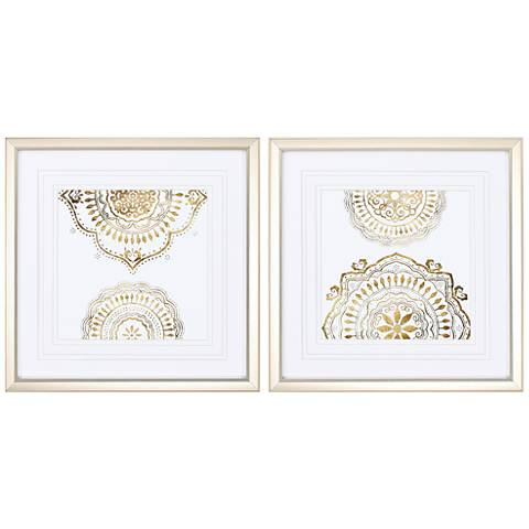 "Weathered Mandala 2-Piece 21"" High Framed Wall Art Set"
