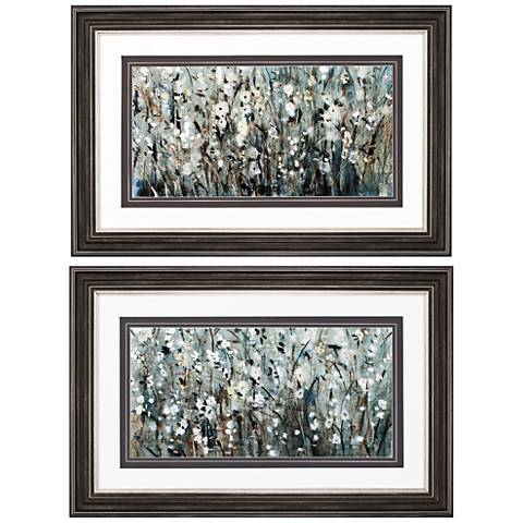 """White Blooms Navy 2-Piece 29"""" Wide Abstract Wall Art"""