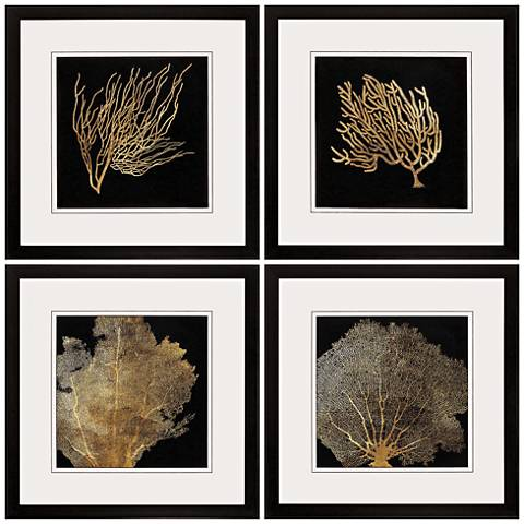 "Coral 4-Piece 20"" Square Framed Coastal Wall Art Set"