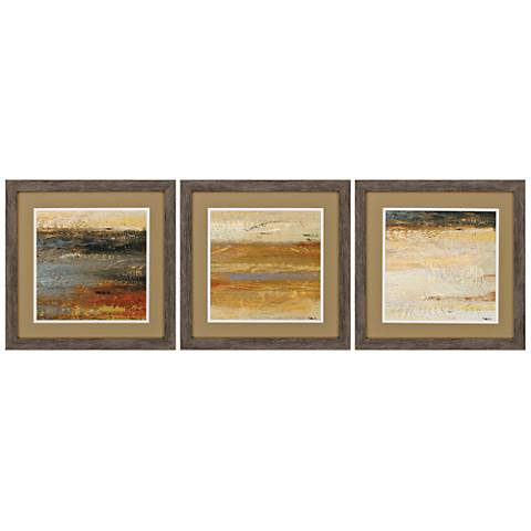 """Sienna II Abstract 3-Piece 18"""" Square Framed Wall Art Set"""