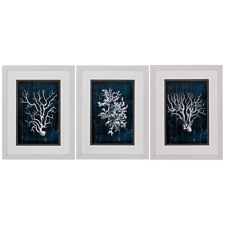 """Wood Coral Blue 3-Piece 26"""" High Frame Wall Art Set"""