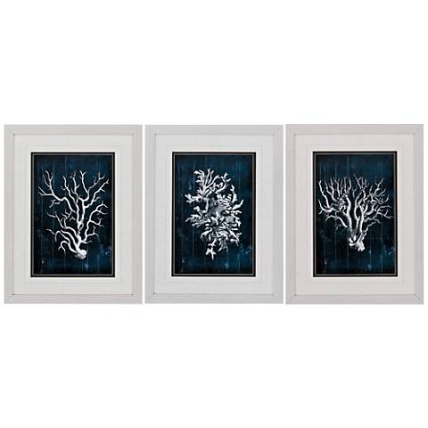 "Wood Coral Blue 3-Piece 26"" High Frame Wall Art Set"