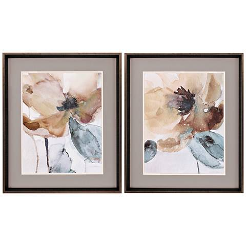 "Watercolor Poppy 2-Piece 27"" High Framed Wall Art Set"