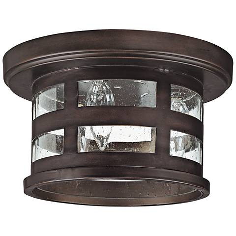 "Mission Hills 10 1/2"" Wide Bronze Outdoor Ceiling Light"