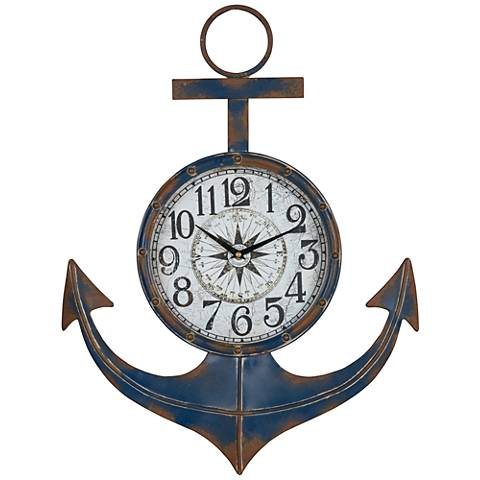 "Cooper Classics Anchor Blue 24"" High Round Wall Clock"