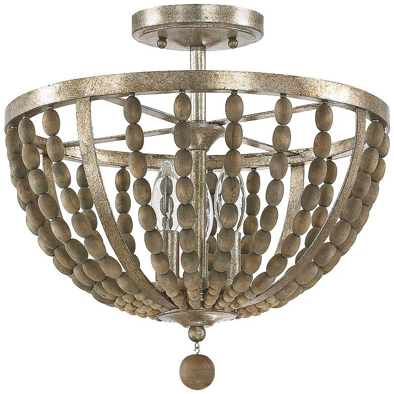 """Donny Osmond Home Lowell 15""""W Tuscan Wood Ceiling Light"""