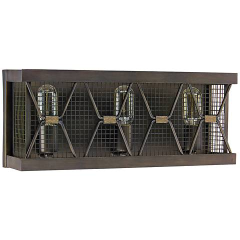 "Capital Jackson 19 3/4""W 3-Light Bronze Cage Bath Light"