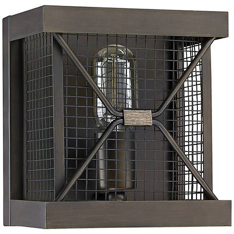 "Capital Jackson 8""H Oiled Bronze Cage Square Wall Sconce"