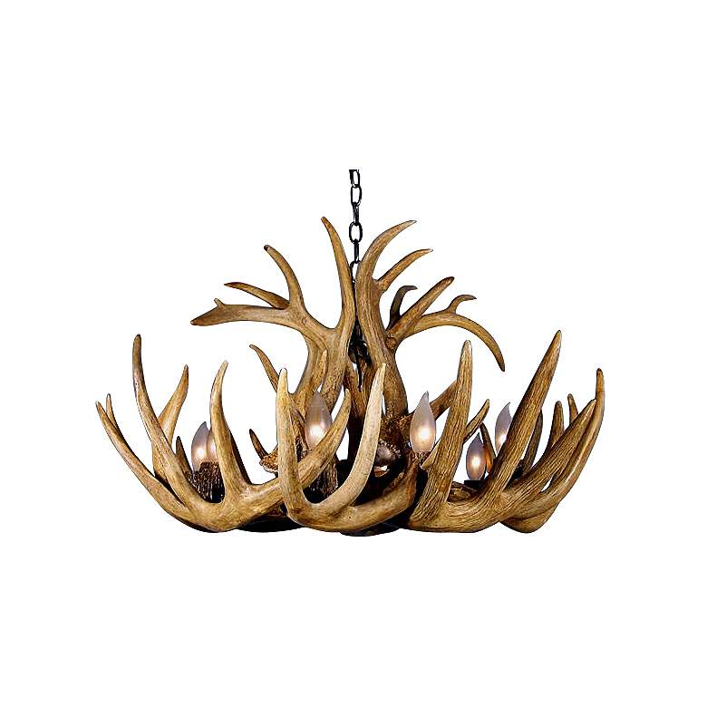 """Whitetail 22"""" Wide 6 to 8 Light Real Shed Antler Chandelier"""