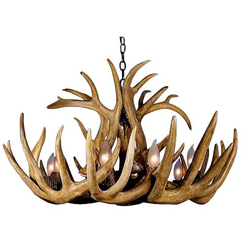 "Whitetail 22"" Wide 6 to 8 Light Real Shed Antler Chandelier"