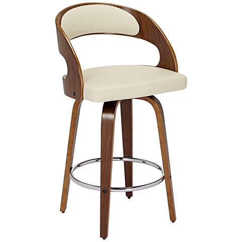 "Shelly 26"" Cream Faux Leather Swivel Counter Stool"