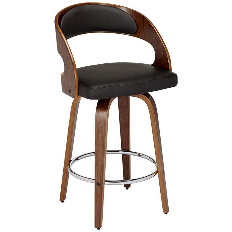 """Shelly 25 3/4"""" Brown Faux Leather Swivel Counter Stool"""