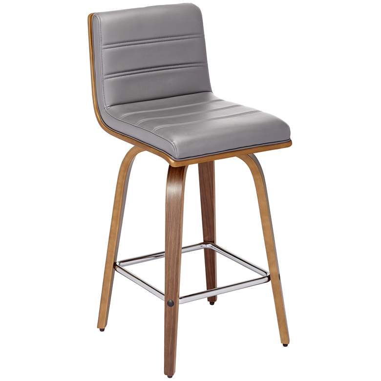 """Vienna 25 1/4"""" Gray Faux Leather Modern Swivel Counter Stool"""