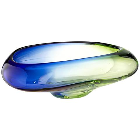 Ayda Large Green and Blue Clear Decorative Bowl