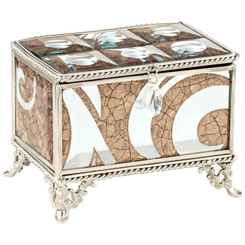 "Trish Silver Crackled Bronze 4 1/2""W Mirrored Jewelry Box"