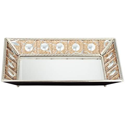 Trish Silver Crackled Bronze Decorative Mirrored Tray