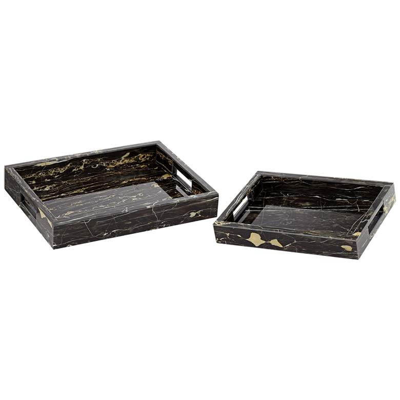 """Gilling 16"""" Wide Modern Luxe Marbled Serving Trays Set of 2"""