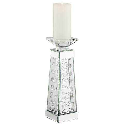 "Melissano Crystal Glass 14"" High Candle Holder"