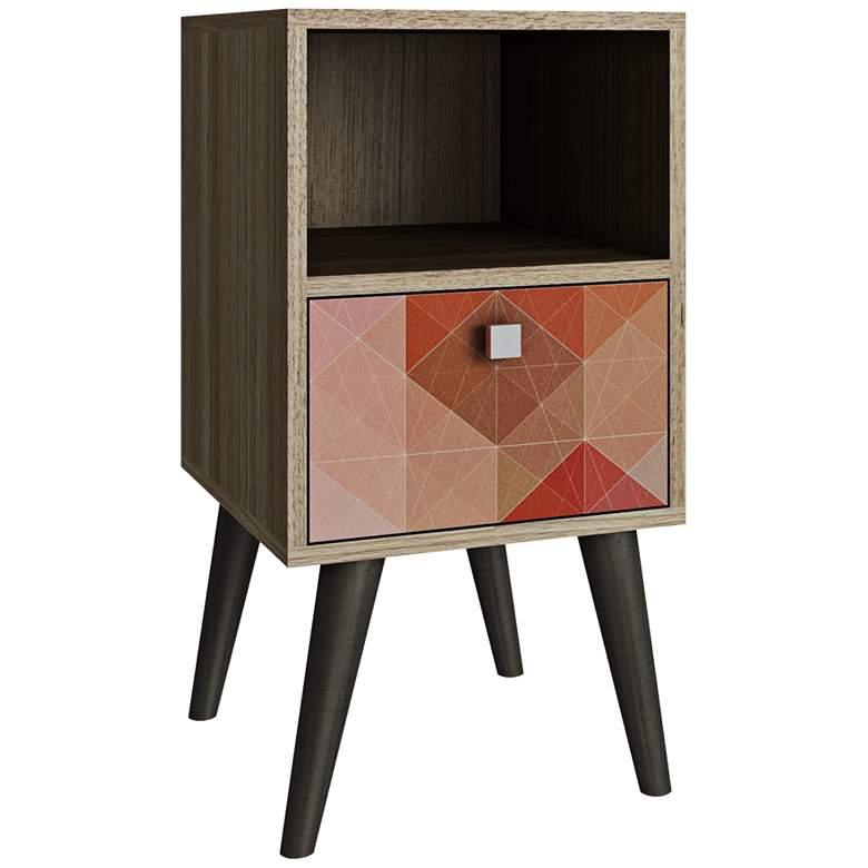 "Abisko 13 3/4"" Wide Oak and Multi-Color Modern Side Table"