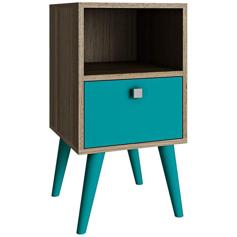 """Abisko 13 3/4"""" Wide Oak and Aqua Blue Modern Side Table"""