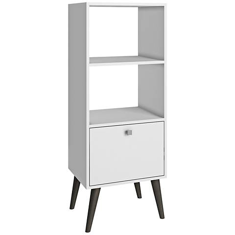 Sami Double 2-Shelf White Wood Frame Bookcase