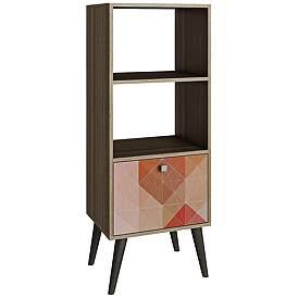 Sami Double 2 Shelf Multi Color And Oak Frame Bookcase