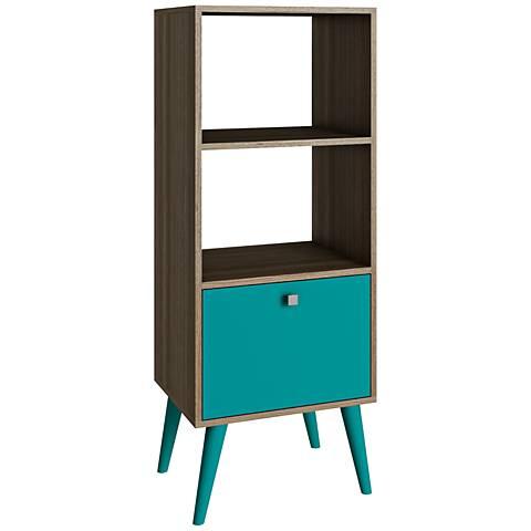 Sami Double 2-Shelf Aqua and Oak Wood Frame Bookcase