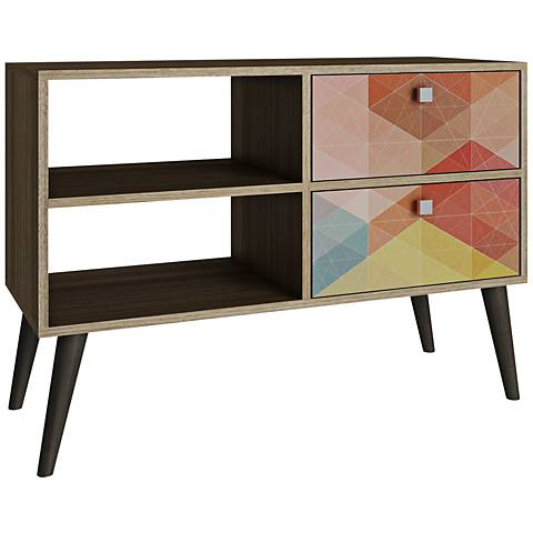 Dalarna 2-Drawer Multi-Color and Oak Frame TV Stand