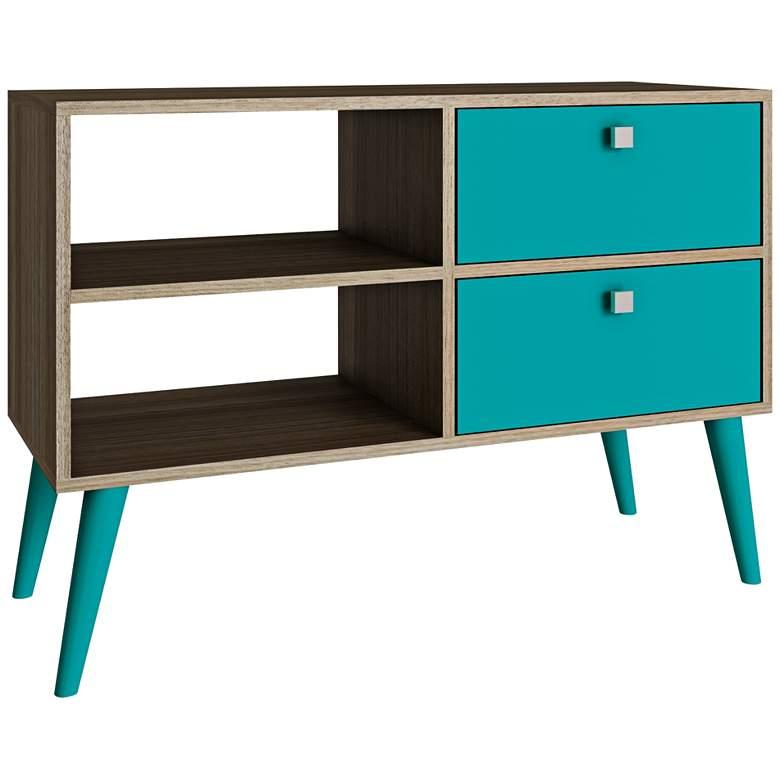 "Dalarna 35 1/2"" Wide 2-Drawer Aqua Blue and Oak TV Stand"