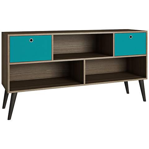 Uppsala 2-Drawer Aqua and Oak Wood Frame TV Stand